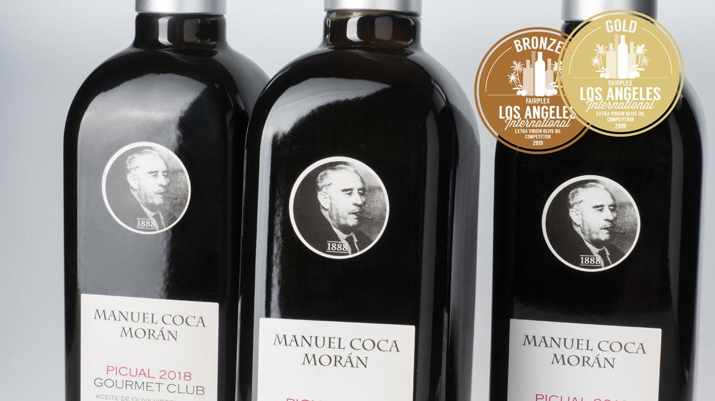 La marca de cordobesa de Aceite de Oliva Virgen Extra, Manuel Coca Moran, gana medalla de oro en el concurso internacional de Los Ángeles.